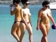 Due donne in topless e nudo in spiaggia
